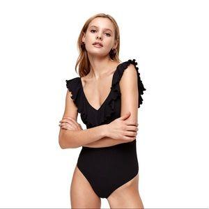NWOT Aritzia Wilfred Danette Ruffle Thong Bodysuit